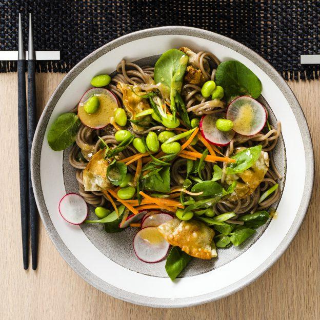 Summer Mini Wonton Salad with Miso Vinaigrette Image