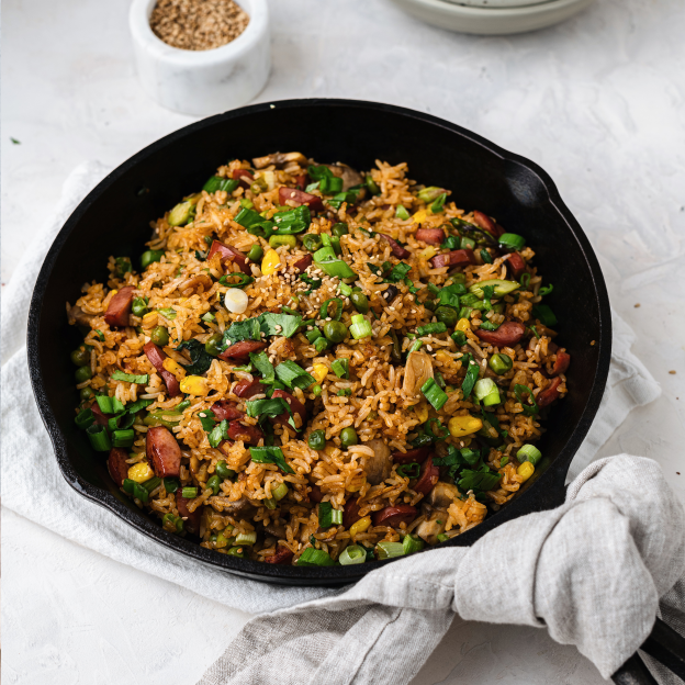 Spicy BBQ Sausage Fried Rice