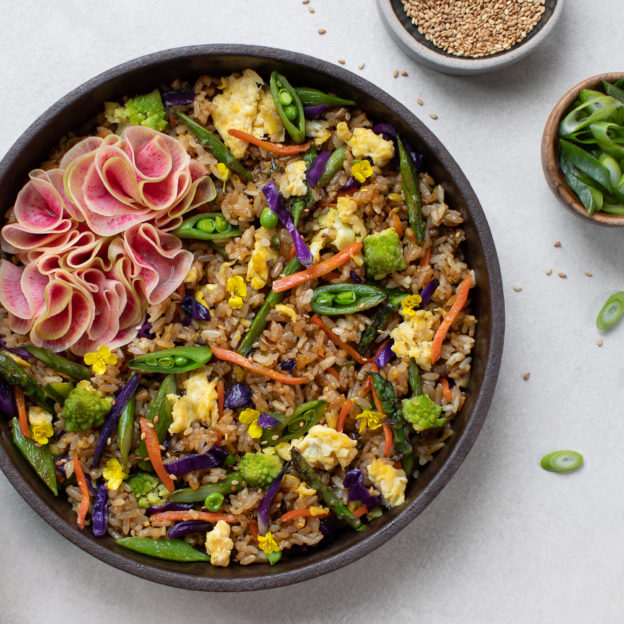 Spring Veggie Fried Rice with Quick-Pickled Radish