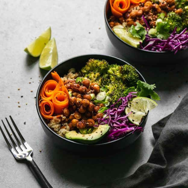 Spicy BBQ Chickpea Quinoa Bowls with Sesame Roasted Broccoli