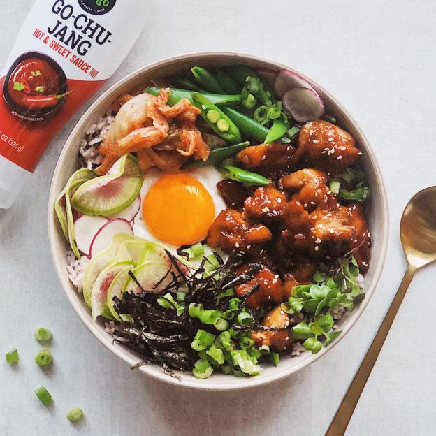 Go-Chu-Jang Chicken Bibimbap with Purple Rice