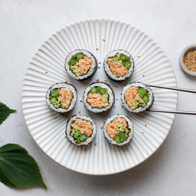 Kimchi Tuna Kimbap with Spring Veggies
