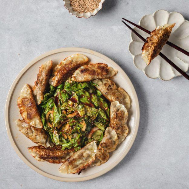Crispy Mandu with Spicy Korean Lettuce Salad