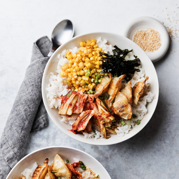 Mini Wonton Rice Bowls with Soy-Butter Corn, Kimchi, and Seaweed