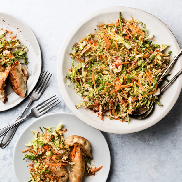 Pan-Fried Vegetable Potstickers with Korean-Style Slaw