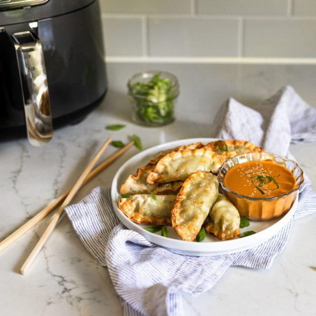 Air-Fried Mandu with Creamy Go-Chu-Jang Mustard
