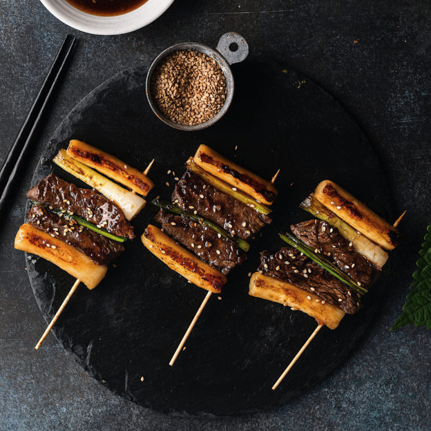 Skewered Rice Cake with Beef & Scallions