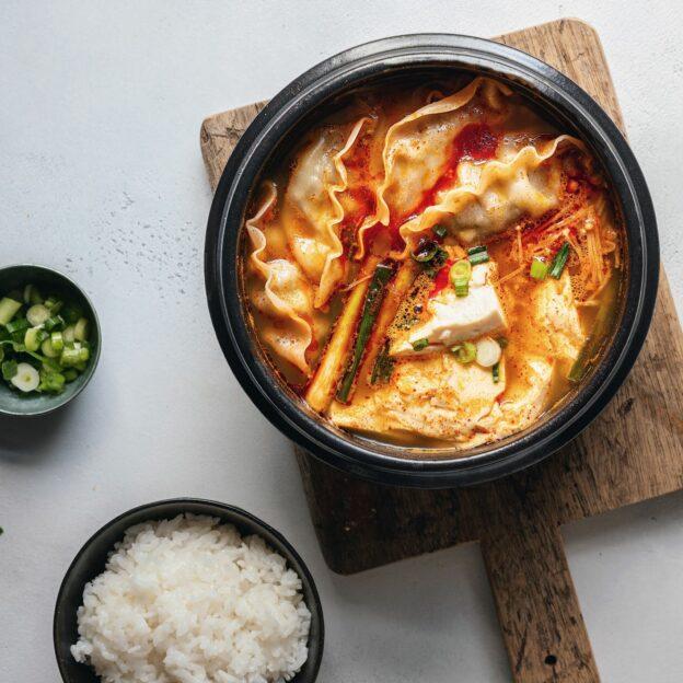 Spicy Soft Tofu Stew with Mandu