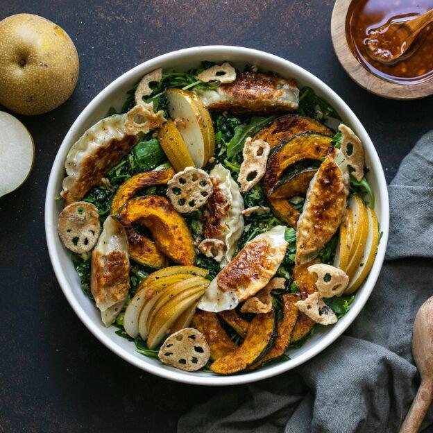 Mandu Salad with Go-Chu-Jang Maple Vinaigrette