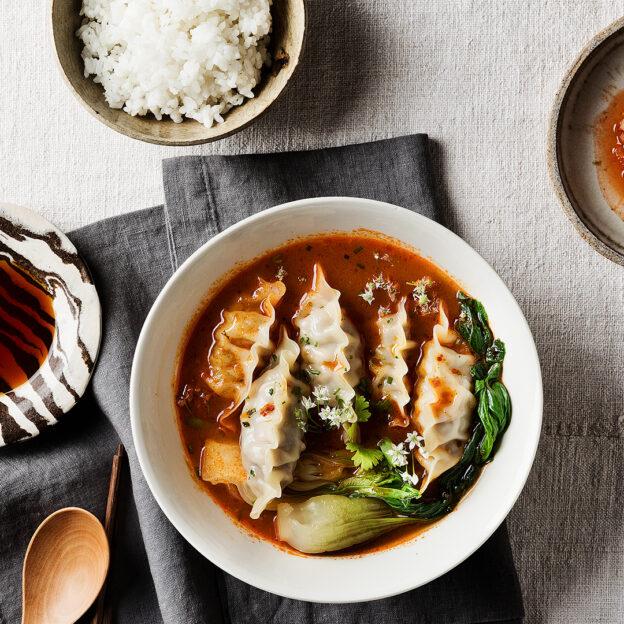 Beef & Vegetable Mandu with Spicy Broth