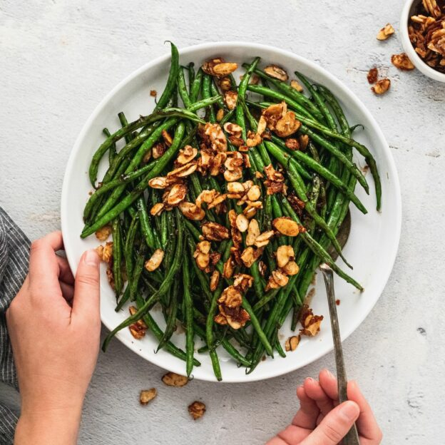 Korean BBQ Green Beans With Spicy Candied Almonds