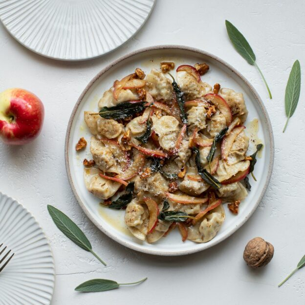 Mini Wontons with Brown Butter, Sage, and Apples