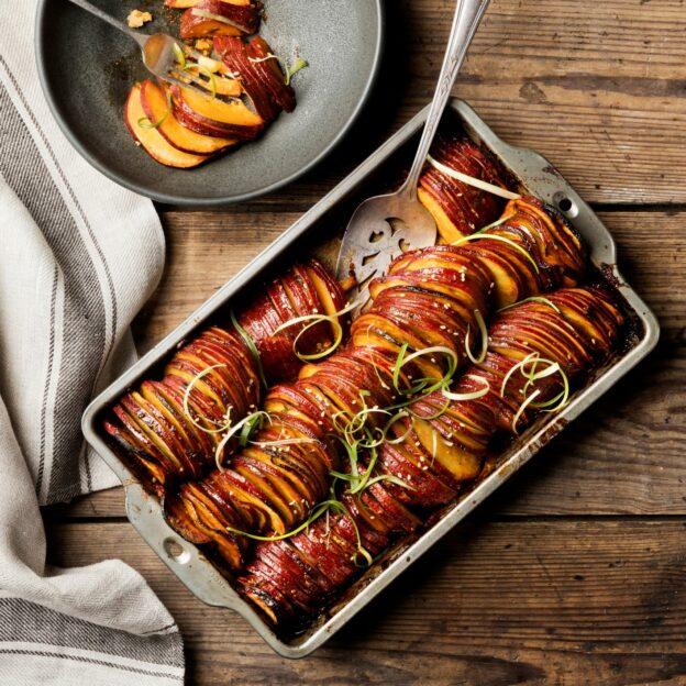 Spicy Korean BBQ Roasted Sweet Potatoes