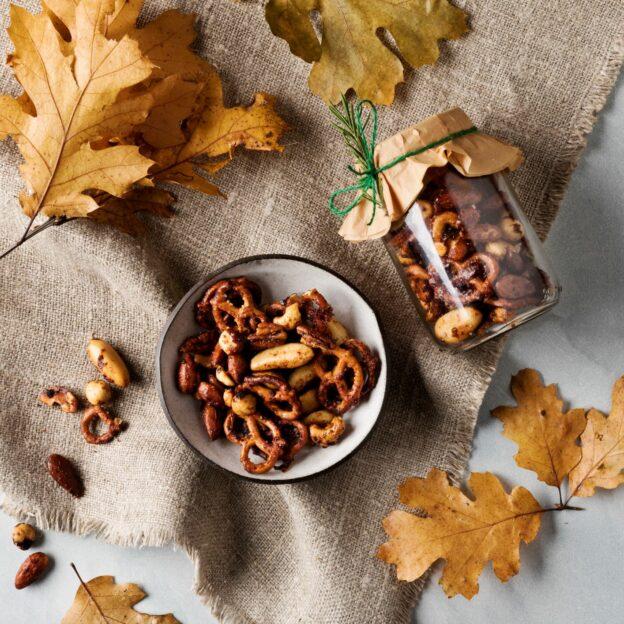 Korean BBQ Marinade-Glazed Nut & Pretzel Mix