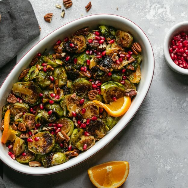 Roasted Brussels Sprouts with Go-Chu-Jang Orange Glaze