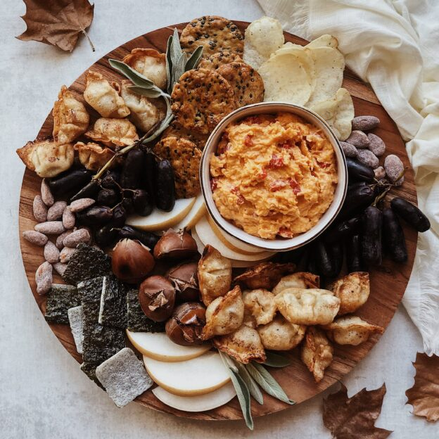 Korean-Style Snack Board with Go-Chu-Jang Pimento Spread