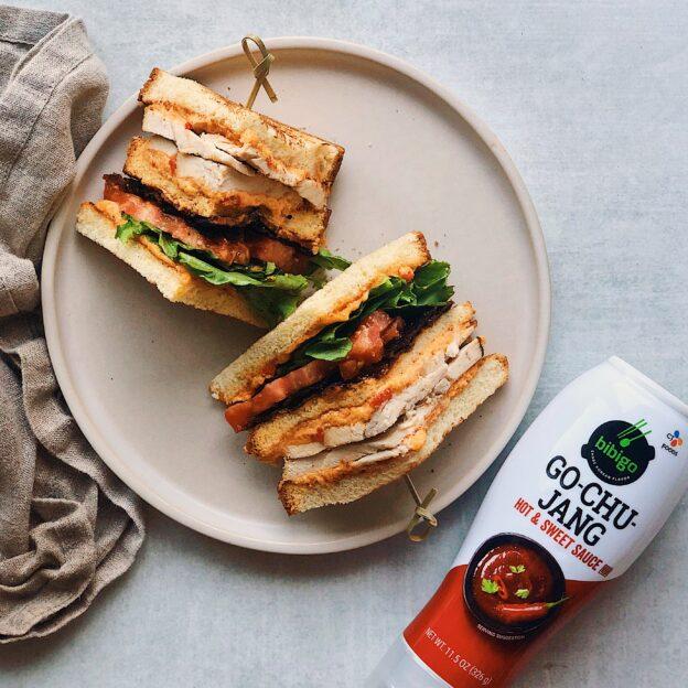 Pimento Club Sandwich with Go-Chu-Jang Glazed Bacon
