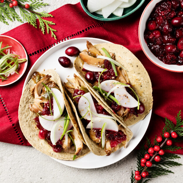 Korean Pulled Chicken Tacos With Go-Chu-Jang Cranberry Sauce